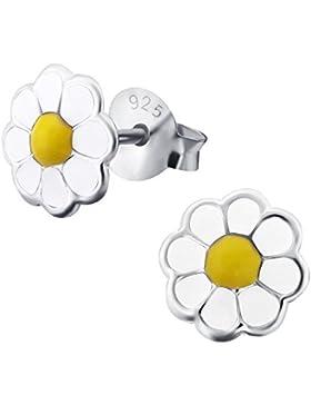 Laimons Kids Kinder-Ohrstecker Kinderschmuck Blume Gänseblume Gelb, Weiß Sterling Silber 925