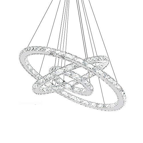 RANZIX Kristall LED Ring Dimmbar Decken Pendelleuchte Kronleuchter Kristall Wohnzimmer stall Design Hängelampe Deckenlampe (72) (Kristall-pendelleuchte)
