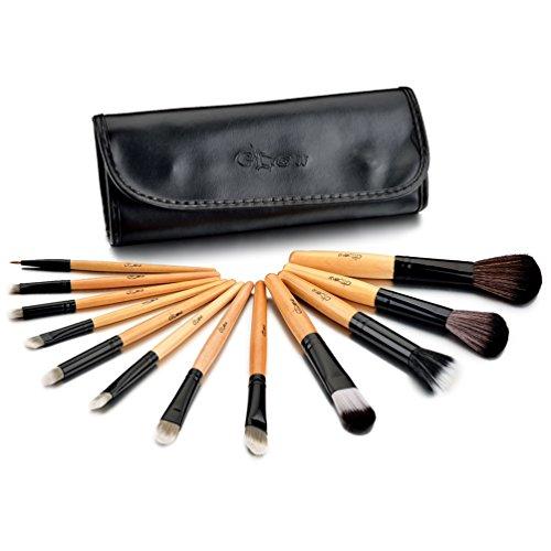 Glow Coffret 12 Pinceaux Maquillage et leur Trousse de Rangement en Cuir Noir
