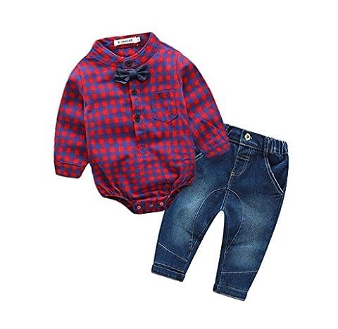 Paolian Bébés Garçons Beau Plaid Chemises Romper Jeans Vêtements Ensemble (6M, Rose chaud)