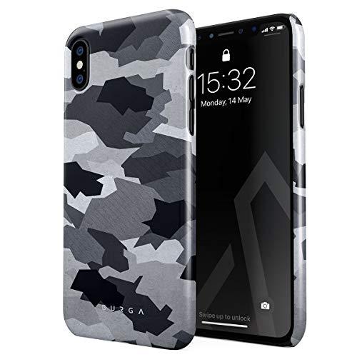 BURGA Hülle Kompatibel mit iPhone XS Max Handy Huelle Grau Schwarz Weiß Schnee White Camo Camouflage Tarnung Muster Dünn, Robuste Rückschale aus Kunststoff Handyhülle Schutz Case Cover -