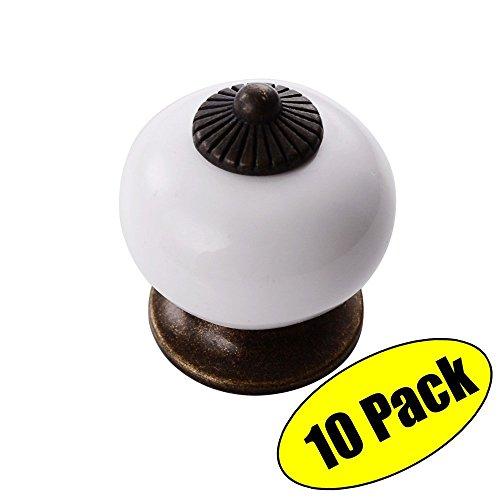 Möbel Schublade Zieht (KES Jahrgang Keramik Küche Bad Kabinett Runde Türknöpfe 1-3/10-Zoll Durchmesser Schublade Griffe Möbel Zieht Hardware Antik Messing und bunt Weiß 10 Pack, HCK801-WH-P10)