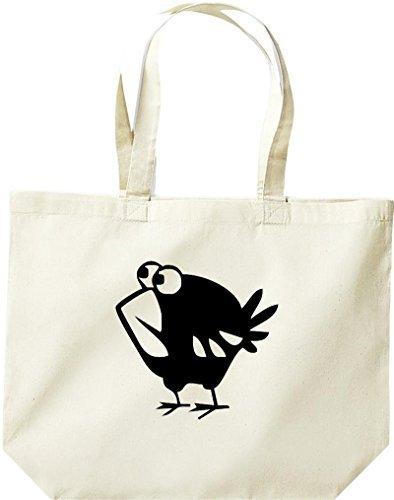 grande borsa della spesa, SHOPPER FUNNY animale uccello Spatz Naturale