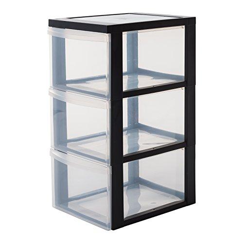 IRIS, Schubladenschrank / Schubladenbox / Rollwagen / Rollcontainer / Werkzeugschrank \'Drawer Chest\', DC-303, mit Rollen, Plastik, schwarz
