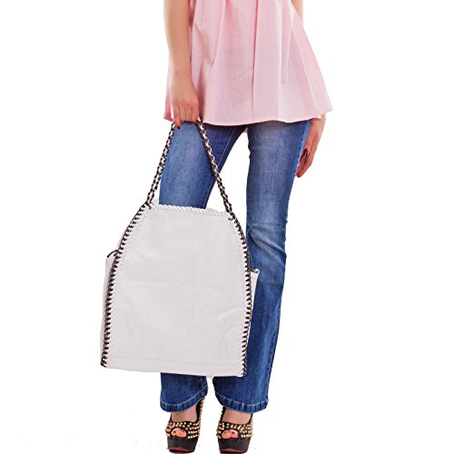 Toocool - Borsa donna tracolla spalla catene borsetta catena ecopelle nuova 13117 Bianco