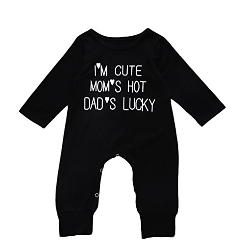 Anywow Kleinkind Baby Jungen Mädchen Strampler Nette Buchstaben Gedruckt Langarm Bodys Einteiler Overall Spielanzug 3-18M (Baby Genie Kostüm)