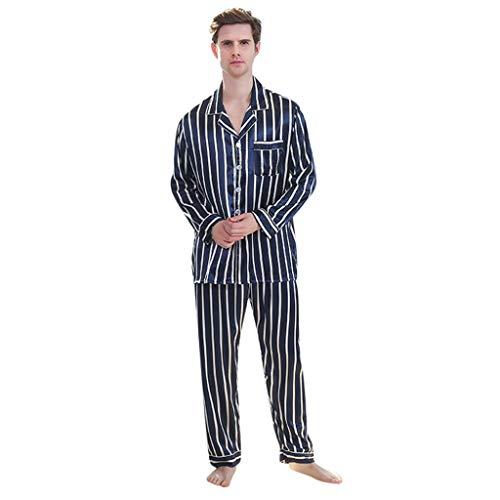 Bellelove Herren Zweiteiliger Schlafanzug Pyjama Zweiteiliger Schlafanzug Herren Schlafanzug lang Karierter Pyjama Set Zweiteilige Nachtwäsche Langarm mit V-Ausschnitt und Knopfleiste