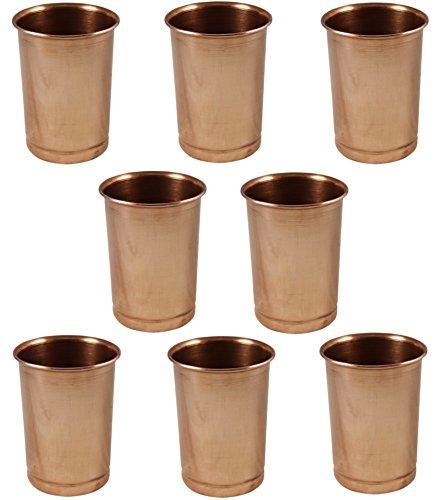 Satz von 8 gläser, reines kupfer trinkgläser ayurvedische wasser trinkgläser, kapazität 350 ml (Aqua-bett-satz)