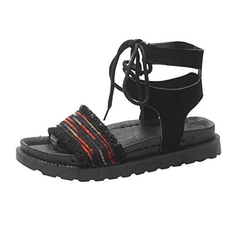 YOPAIYA Sandalen Damen Sommer Flach,Casual Womans Summer Blue Schuhe Flats Ankle Strap Bohemia Damen Sandalen Elastic Flatform Sliders Schuh Schuhe Damen Sandale, 38 -