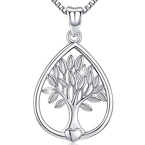Friggem Wassertropfen Form Baum des Lebens Sterling Silber Halskette & Anhänger für Frauen & Männer, Muttertagsgeschenk