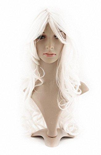 MapofBeauty charmante Kunststoff Faser lange wellige Perücke Frauen Party volle Perücken (weiß) -