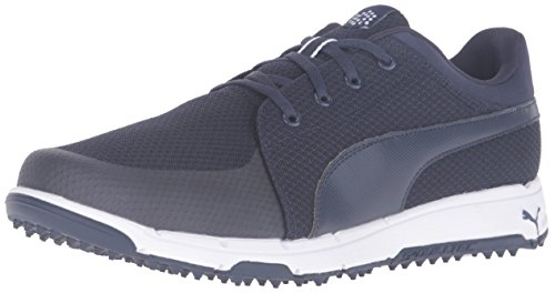 Puma Men's Grip Sport Golf Shoe, Grey-White, Medium US