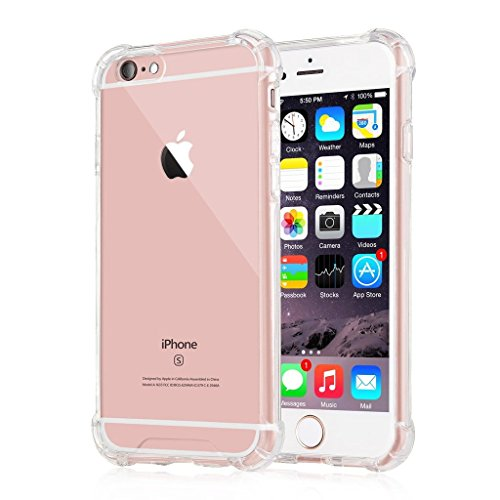 [Crystal Clear] iPhone 6 / 6s Case, Go Crazzy New Cover Case [Shock Absorption] with Transparent Hard Plastic Back Plate and Soft TPU Gel Bumper –