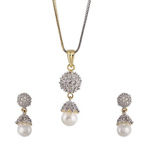 Zeneme American Diamond Gold Plated Pearl Pendant Set With Earring For Girls / Women