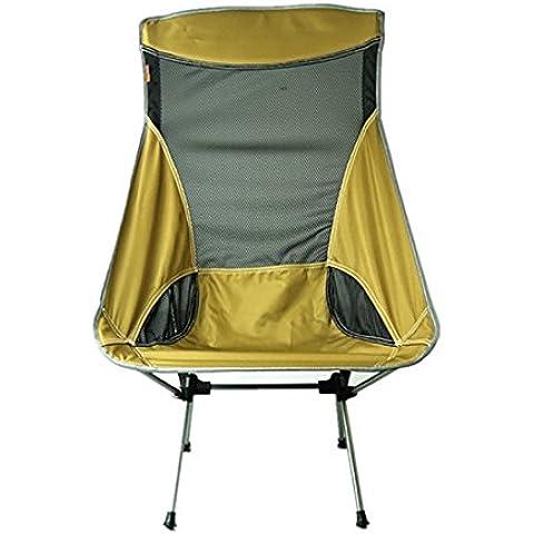 MCCOutdoor posteriore in alluminio pieghevole sedie Ultra Light Barbecue portatile per campeggio, pesca, sedia da spiaggia, cachi