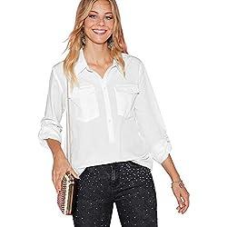 Blusa Lisa Botones de nácar Mujer by Vencastyle - 015801,Blanco,XL