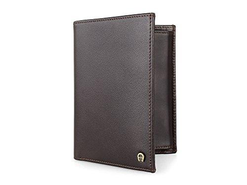 aigner-cuir-portemonnaie-format-portrait-pour-homme-fonce-brune