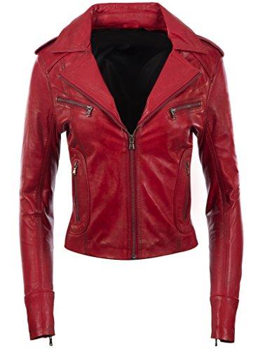 Aviatrix giacca da motociclista elegante in morbida vera pelle donna (n8ul)