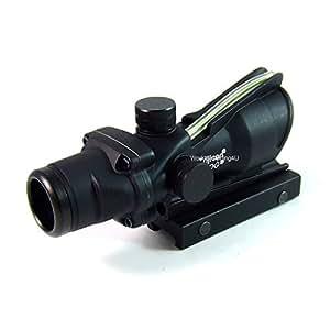 Tactique ACOG 4x32 fonctionnelle Fibre Optique Vert Dot Lunettes de visée Portée ajustement 20mm pour Airsoft Chasse