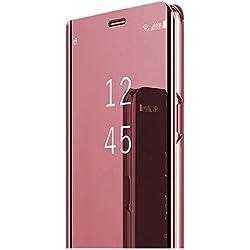 Coque Compatible pour Samsung Galaxy A7 2018 Transparent Clair Miroir Couverture S-Vue Flip Cover Standing Support Antichoc Etui pour Galaxy A7 2018 (Or Rose, Galaxy A7 2018)