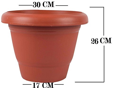 First Smart Deal Plastic Round Pot (12-inch, Brown, Pack of 5)