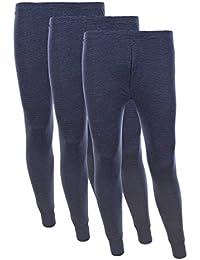 3er Pack Herren LANGE UNTERHOSE mit Eingriff Thermo-Hose Ski-Unterwäsche Hose Thermowäsche Funktionshose Funktionsunterwäsche Thermounterwäsche