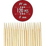 Netvic s 91 cm (91,44') (36') 5 mm con spiedi per Kebab e Marshmallow-Bastoncini in bambù per arrosto, spiedini, spessore Extra lungo per spiedini in legno, 100 pezzi, perfette per Hot Dogs, i Kebab e wurstel, l'Eco ed biodegradabili al 100%