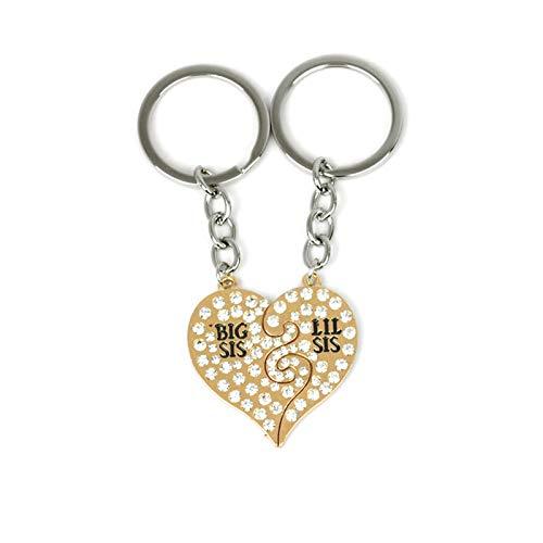 Aeici Schlüsselanhänger Männer Zirkonia Puzzle Herz mit Big/Lil SIS Schlüsselbund Gold -