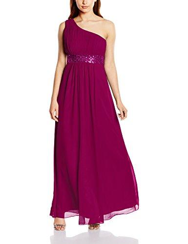 Astrapahl Damen Kleid One Shoulder mit Pailletten, Maxi, Einfarbig, Gr. 34, Violett
