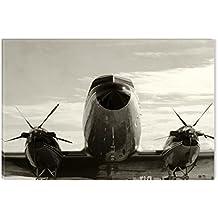 Startonight Cuadro sobre Lienzo en Blanco y Negro Aviones de Plata, Impresion en Calidad Fotografica Enmarcado y Listo Para Colgar Diseño Moderno Decoración Formato Grande 80 x 120 CM