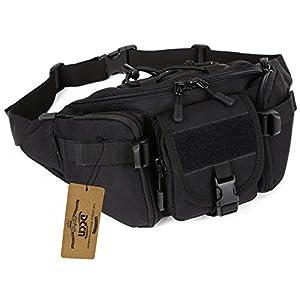 DCCN Tactical Hüfttasche Bauchtasche Militär Gürteltasche mit 5 Fächer inkl. Reißverschluss für Outdoor Sport Trekking Wandern Running