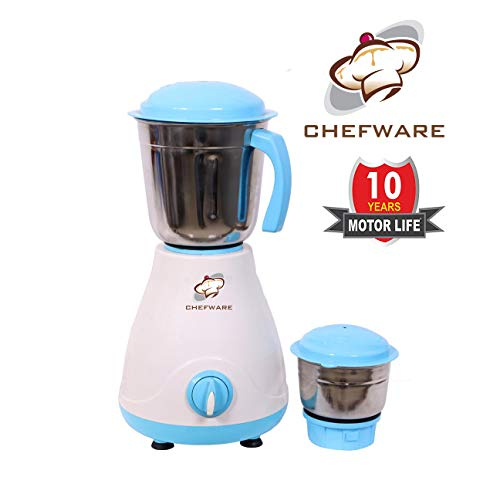 Chefware Appliances Iris Mixer Grinder, 100% Copper Motor, 1 Year Warranty, 2 Jars, White