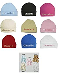 d123c27fd9b 100% Super Soft Double Layered Cotton Personalised Embroidered Baby Hat -  Available in sizes 0-3