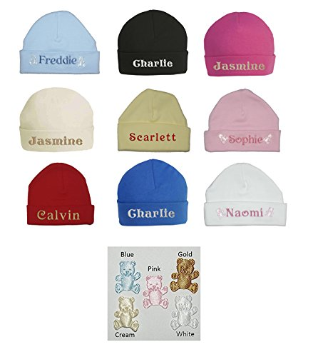 100% Super Soft Double Layered Cotton Personalised Embroidered Baby Hat - Available in sizes 0-3, 3-6 and 6-12 months and 9 colours to choose from