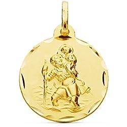 Médaille Saint Christophe (Saint Christophe Medal) 18mm en or jaune de 9 ct