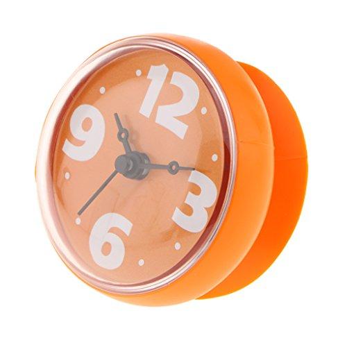 SunniMix Wasserdichte Wanduhr Badezimmer Badezimmeruhr Uhrzeit Uhr Mit Saugnapf - Orange