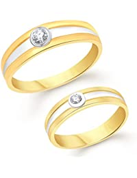 Vk Jewels Simple Single Gold Brass Alloy Cz American Diamond Couple Ring for Men And Women Vkcplfr1035G_14F_24M
