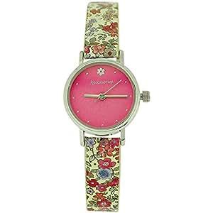 Montre Accessorize pour Femme Cadran Rose, Fermoir Boucle & Motif Floral