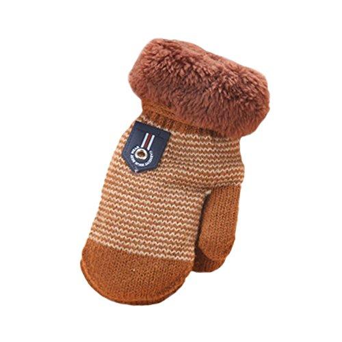 Amcool Baby Handschuhe, Für 1 -4 Jahre Niedlich Karikatur Verdicken Winter Warme Handschuhe (Beige) (Kaffee)