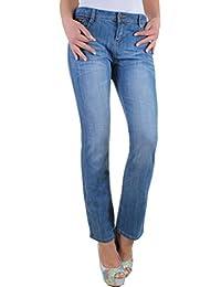 Damen Jeans Straight Leg mit Waschung und Nieten Übergröße große Größe bis Gr. 46