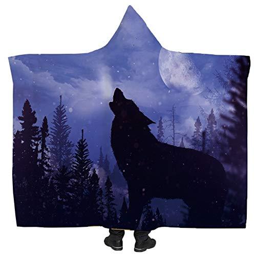 König Ultra Plüsch (JYDAN Decke Faul Tragbar 3D Gedruckt Wolf Schatten Vlies Weich Schick Zuhause Ultra Plüsch Sich anschmiegen Decke mit Kapuze Bettwäsche,D,1.3 * 1.5M)