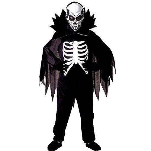 Sensenmann Kinderkostüm Kinder Skelett Geister Kostüm L 158 cm Knochen Halloweenkostüm Skelettkostüm Junge Halloween Verkleidung Geist Horror Geisterkostüm
