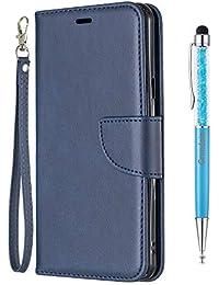 Grandoin Funda para LG STYLO 5, Color Sólido PU Cuero Case Cuerpo Completo Carcasa Protectora Cartera Soporte Plegable Función Fundas Case Cover (Azul)
