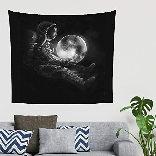 O5KFD&8 Astronaut Design Tapisserie romantisch klein Strandteppich - Moon Musterdruck für Schlafzimmer White 150x130cm