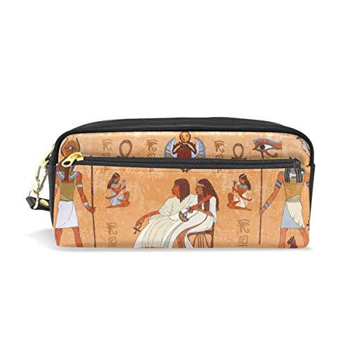 ALARGE Vintage Antike Ägypten Tirbal PU Leder Federmäppchen Stifteetui Stifteetui Federtasche Reißverschluss Make-up Kosmetik Reise Schultasche