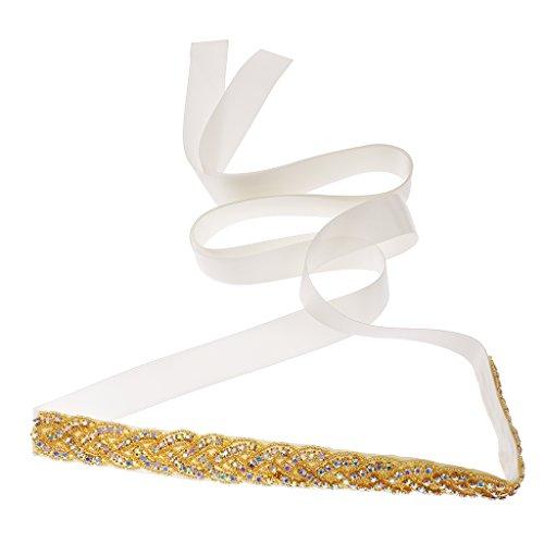 Frauen Schmuck Brautkleid Gürtel Goldkristall Schärpe Brautgürtel