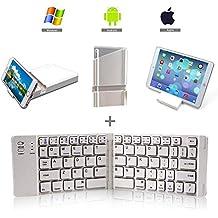 lolly-U Teclado Inalámbrico BK-228 Bluetooth Teclado Portátil y Plegable para MacBook para