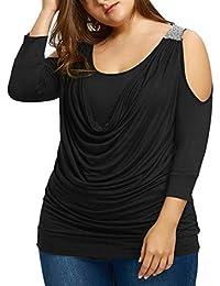 2af54ce038 Sannysis Camisetas Manga Larga Lentejuelas decoración Mujer Blusas sexys  Mujer Tallas Grandes dobla Camisetas de Casuales