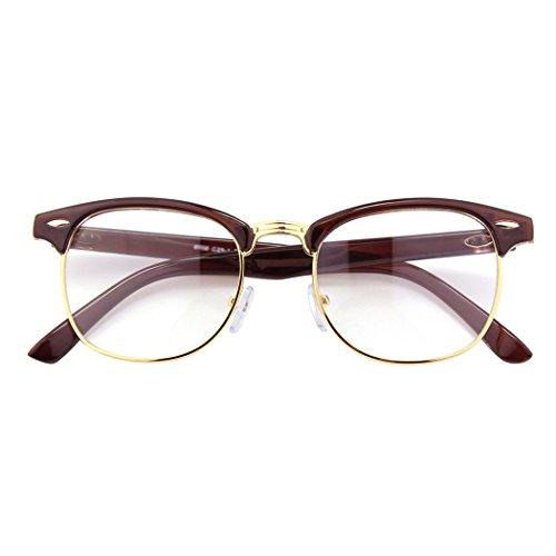 fake brille CGID 50er Jahre Retro Nerd Brille Halbrahmen Hornbrille Stil Rockabilly Streberbrille,Braun