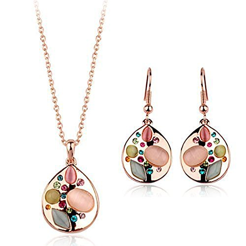 Galaxy Jewellery Swarovski Elements Schmuck mit Zirkonia & synthetischem Opal 18 Karat vergoldet (Zebra Strass Western)